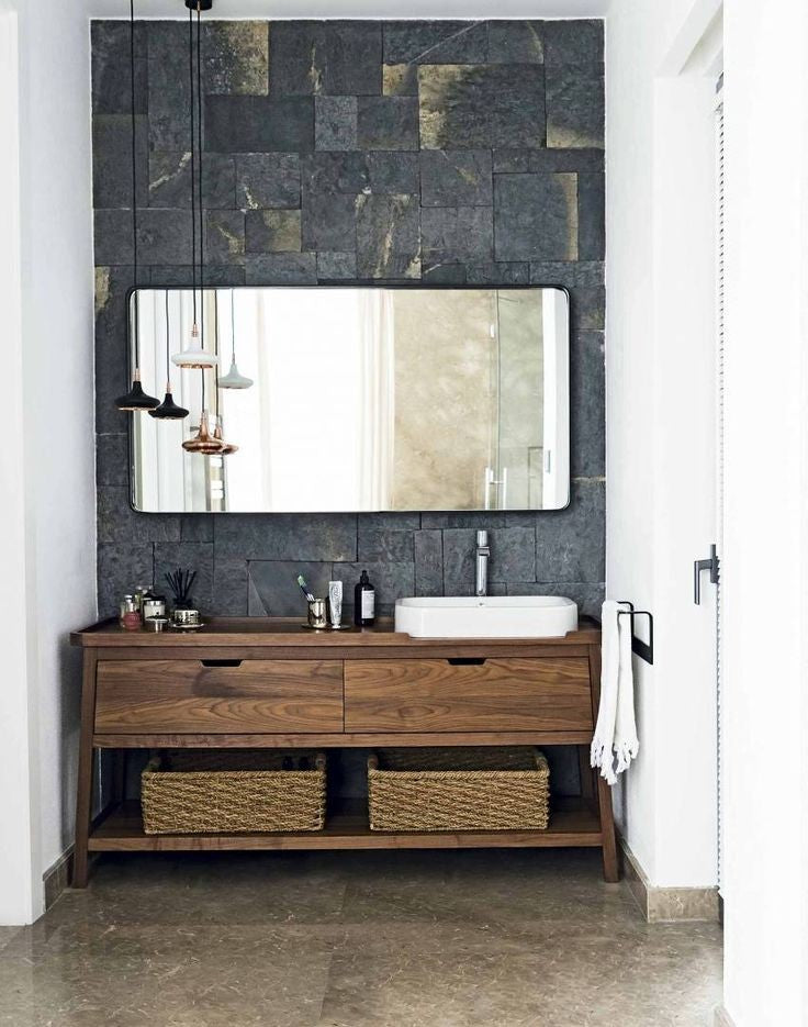 Rustic modern wood vanity and mirror