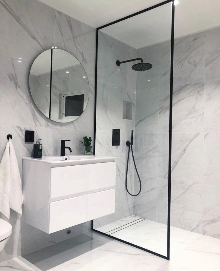 single floating white vanity with bridge faucet