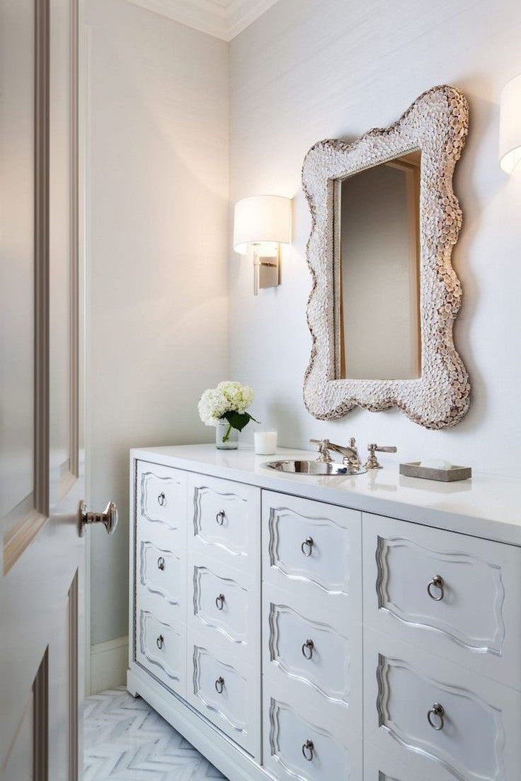 victorian classic white vanity and mirror
