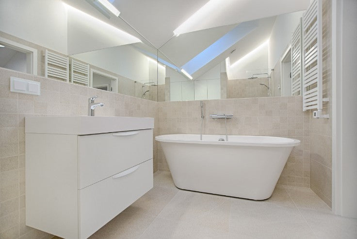 White floating modern vanity with mirror