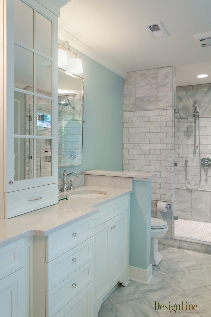 White victorian modern vanity with tile