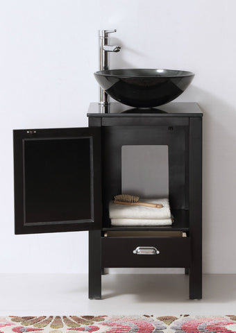 "Image of 18.5"" BLACK COLOR WOOD SINK VANITY WITH GLASS TOP-NO FAUCET WH5518-B"