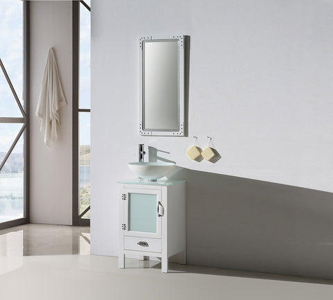 "Image of 18.5"" WHITE COLOR WOOD SINK VANITY WITH GLASS TOP-NO FAUCET WH5518-W"