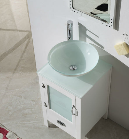 "18.5"" WHITE COLOR WOOD SINK VANITY WITH GLASS TOP-NO FAUCET WH5518-W"