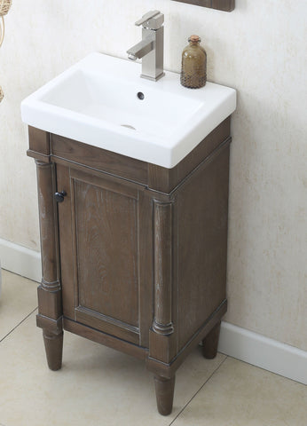 "Image of 18"" WEATHERED GRAY SINK VANITY, NO FAUCET WLF7021-18"