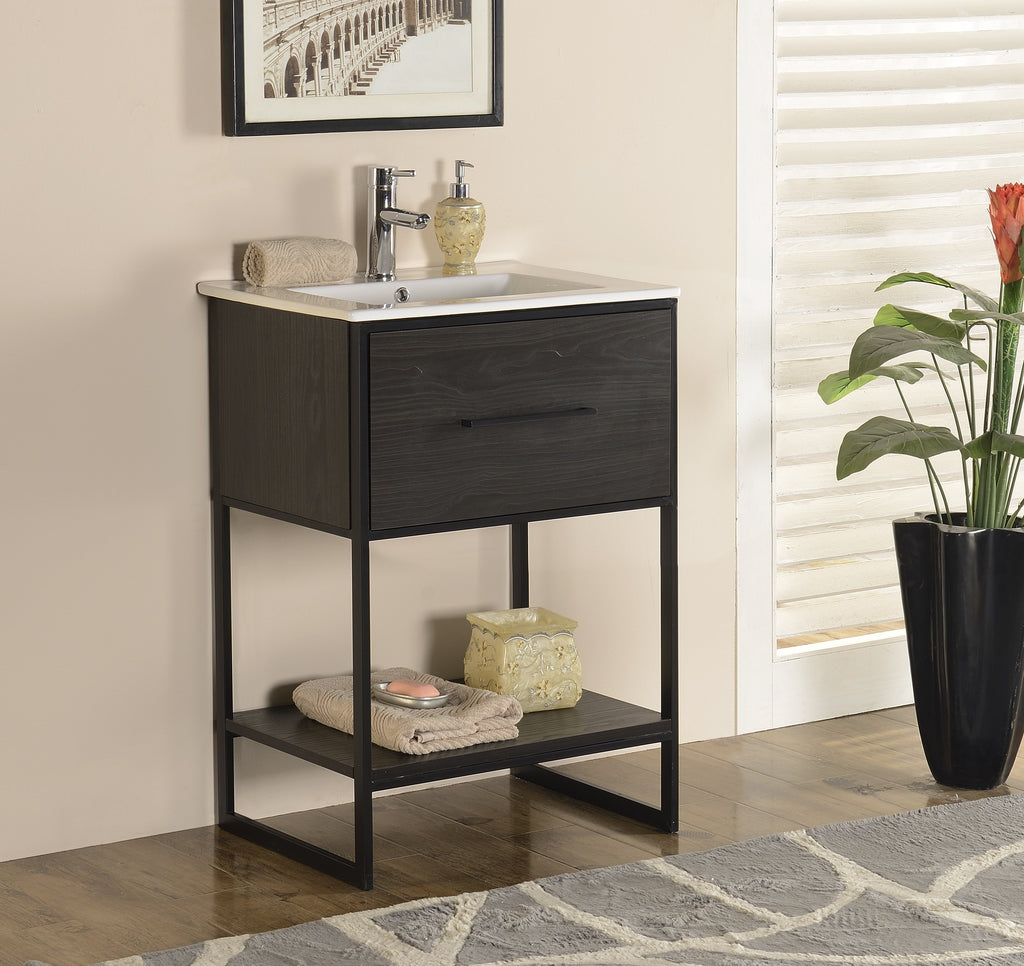 "24"" ANTIQUE ESPRESSO FINISH SINK VANITY WITH BLACK METAL FRAME WH7024-EB"