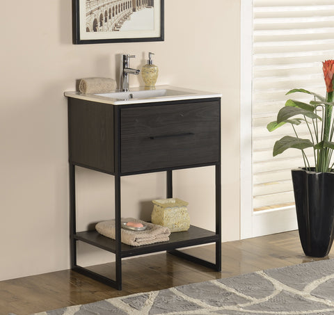 "Image of 24"" ANTIQUE ESPRESSO FINISH SINK VANITY WITH BLACK METAL FRAME WH7024-EB"