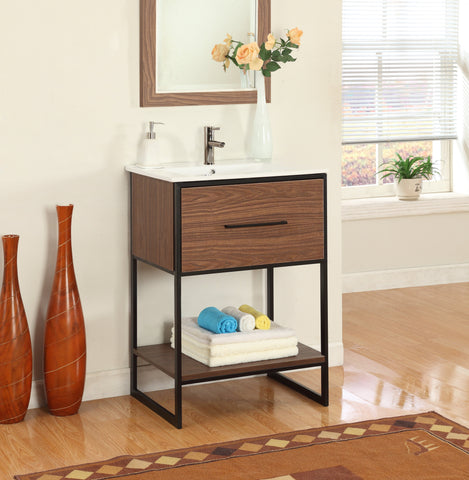 "24"" ANTIQUE WALNUT FINISH SINK VANITY WITH BLACK METAL FRAME WH7024-WB"