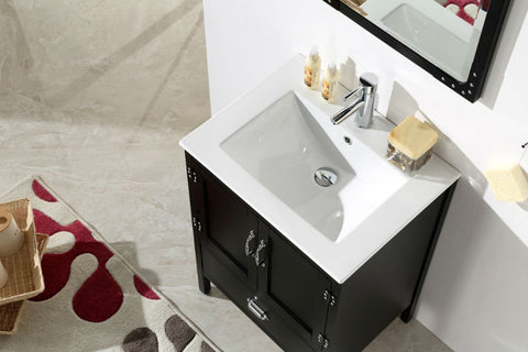 "Image of 24"" BLACK COLOR WOOD SINK VANITY WITH CERAMIC TOP-NO FAUCET WH5624-B"
