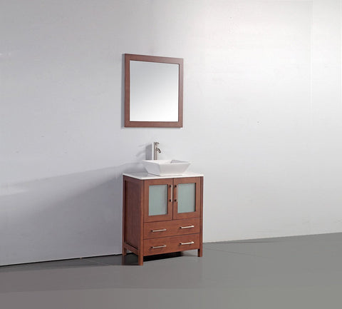 "Image of 24"" CHERRY SOLID WOOD SINK VANITY WITH MIRROR WA7824C"