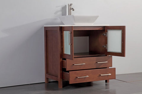 "24"" CHERRY SOLID WOOD SINK VANITY WITH MIRROR WA7824C"