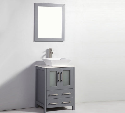 "Image of 24"" DARK GREY SOLID WOOD SINK VANITY WITH MIRROR WA7824DG"