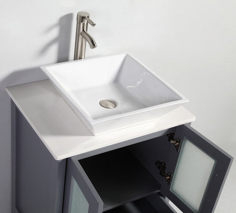"24"" DARK GREY SOLID WOOD SINK VANITY WITH MIRROR WA7824DG"
