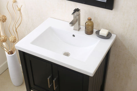 "24"" ESPRESSO SINK VANITY WITH MIRROR, UPC FAUCET AND BASKET WLF6021-E"