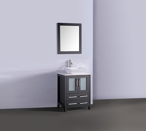 "24"" ESPRESSO SOLID WOOD SINK VANITY WITH MIRROR WA7824E"
