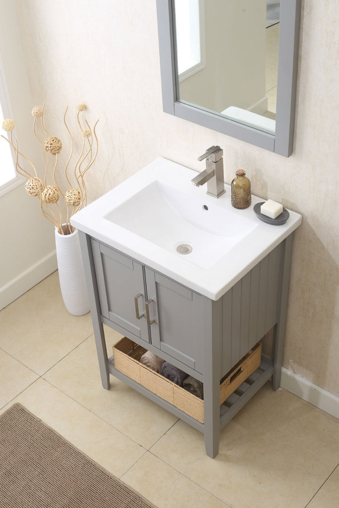 "24"" GRAY SINK VANITY WITH MIRROR, UPC FAUCET AND BASKET WLF6021-G"