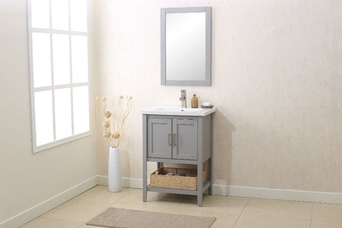 "Image of 24"" GRAY SINK VANITY WITH MIRROR, UPC FAUCET AND BASKET WLF6021-G"