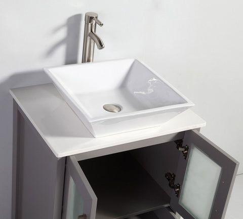 "Image of 24"" LIGHT GREY SOLID WOOD SINK VANITY WITH MIRROR WA7824LG"