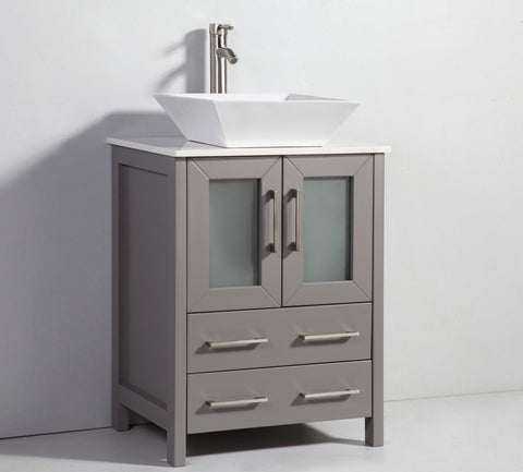 "24"" LIGHT GREY SOLID WOOD SINK VANITY WITH MIRROR WA7824LG"