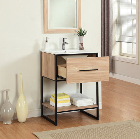 "24"" MAPLE FINISH SINK VANITY WITH BLACK METAL FRAME WH7024-GB"