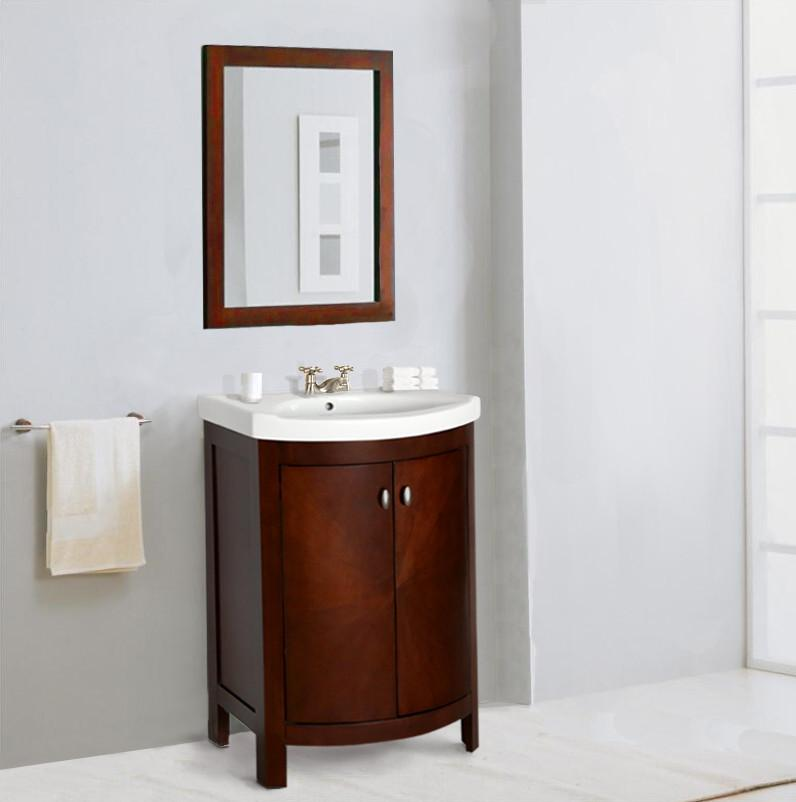 "24"" ROYAL WALNUT SINK VANITY, NO FAUCET WLF7024"