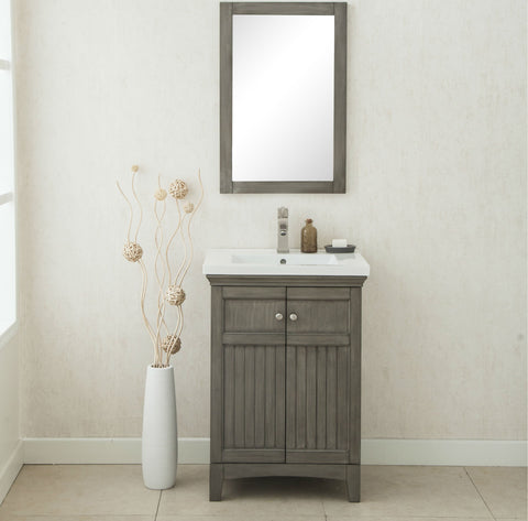 "Image of 24"" SILVER GRAY SINK VANITY, NO FAUCET WLF7016-SG"