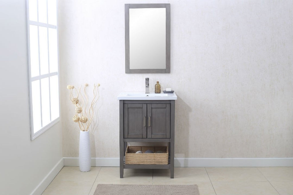 "24"" SILVER GRAY SINK VANITY WITH MIRROR, UPC FAUCET AND BASKET WLF6021-SG"