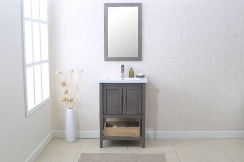 "Image of 24"" SILVER GRAY SINK VANITY WITH MIRROR, UPC FAUCET AND BASKET WLF6021-SG"