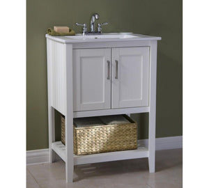 "24"" SINK VANITY WITH BASKET WITHOUT FAUCET WLF6020-W-BS"