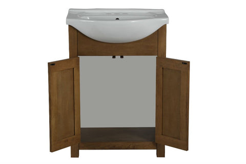 "Image of 24"" WEATHERED BROWN SINK VANITY, NO FAUCET WLF6043"