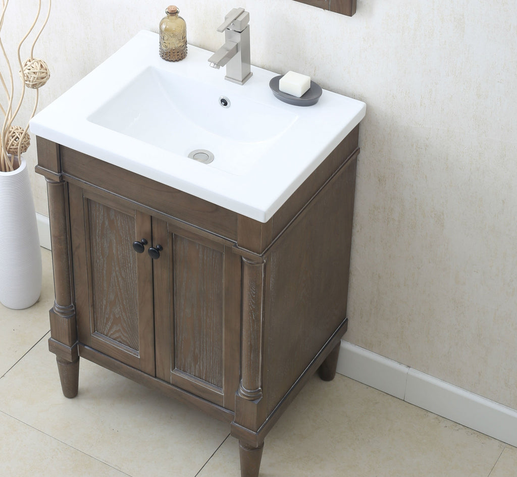 "24"" WEATHERED GRAY SINK VANITY, NO FAUCET WLF7021-24"