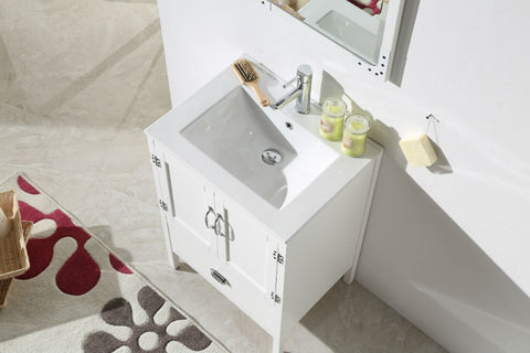 "24"" WHITE COLOR WOOD SINK VANITY WITH CERAMIC TOP-NO FAUCET WH5624-W"