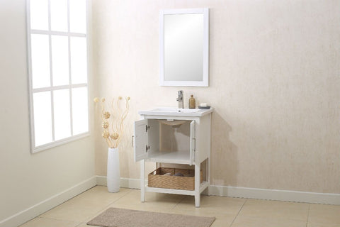 "Image of 24"" WHITE SINK VANITY WITH MIRROR, UPC FAUCET AND BASKET WLF6021-W"