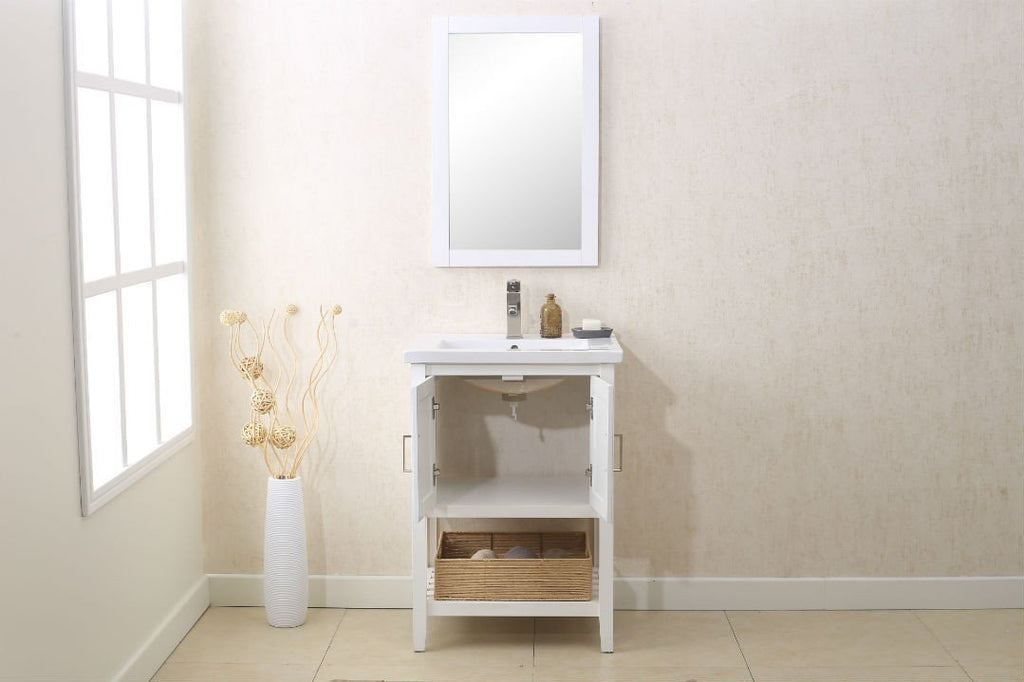 "24"" WHITE SINK VANITY WITH MIRROR, UPC FAUCET AND BASKET WLF6021-W"