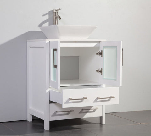 "24"" WHITE SOLID WOOD SINK VANITY WITH MIRROR WA7824W"