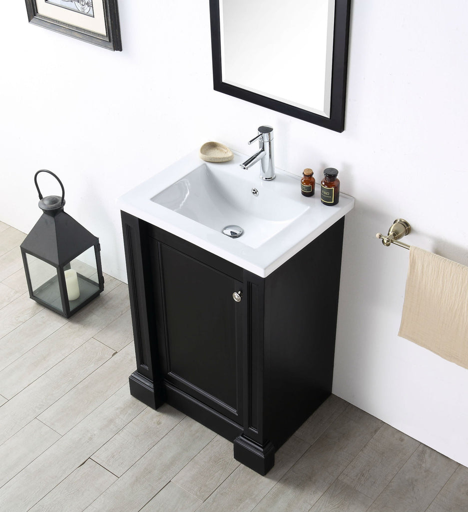 "24"" WOOD SINK VANITY WITH CERAMIC TOP-NO FAUCET IN ESPRESSO WH7524-E"
