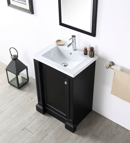 "Image of 24"" WOOD SINK VANITY WITH CERAMIC TOP-NO FAUCET IN ESPRESSO WH7524-E"