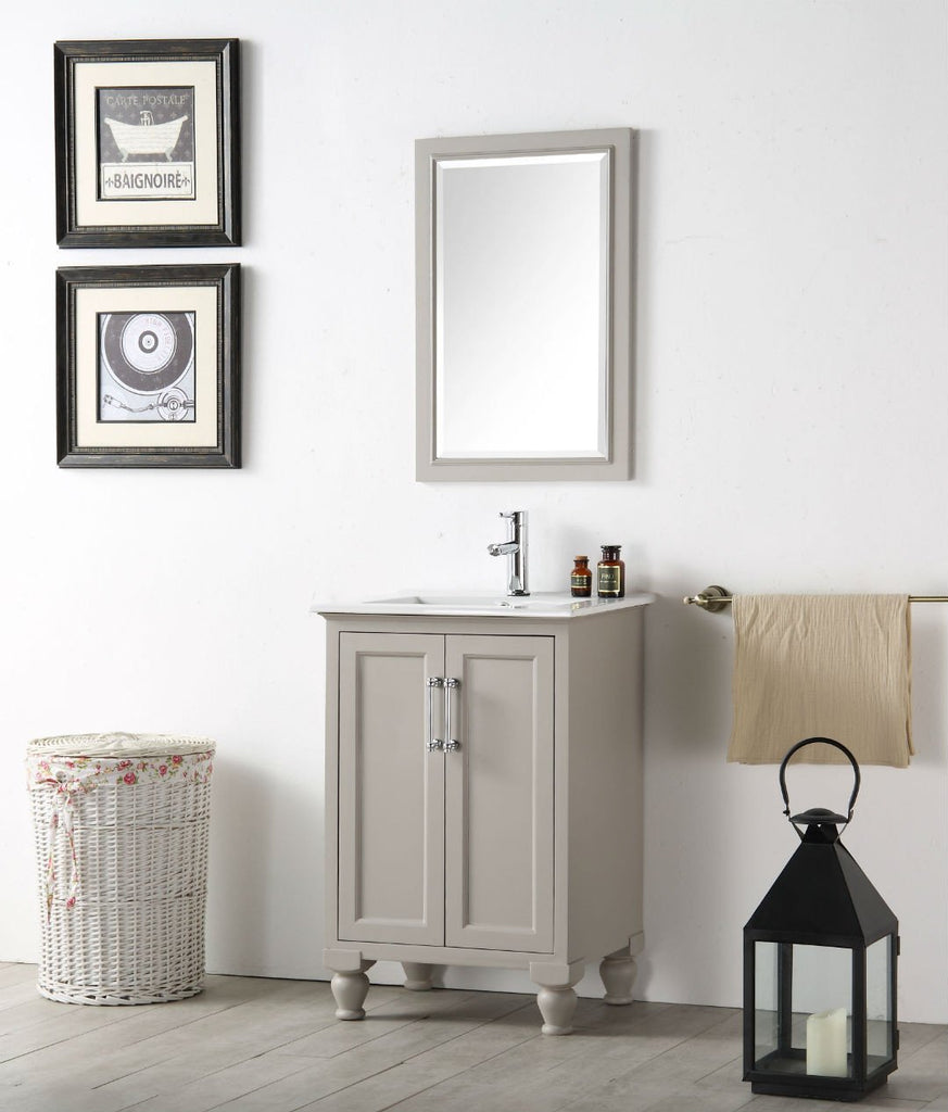 "24"" WOOD SINK VANITY WITH CERAMIC TOP-NO FAUCET IN WARM GREY WH7524-WG"