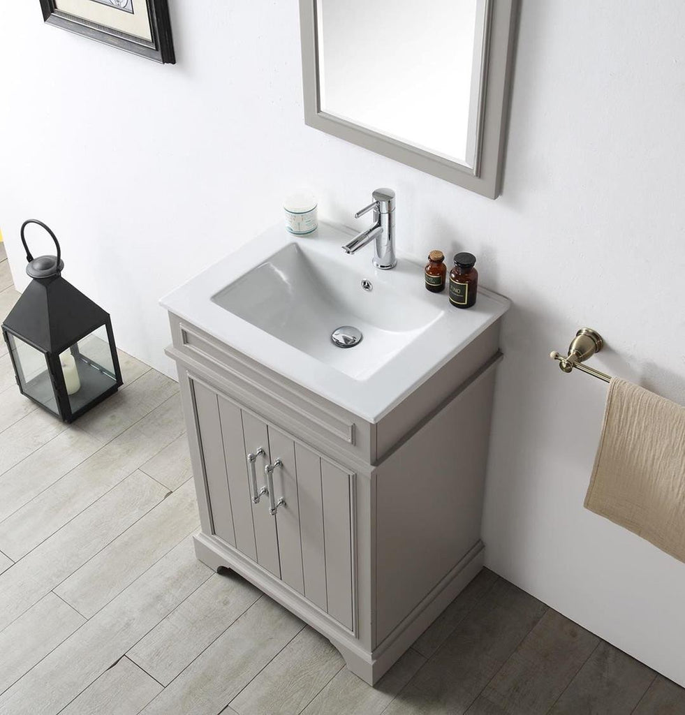 "24"" WOOD SINK VANITY WITH CERAMIC TOP-NO FAUCET IN WARM GREY WH7724-WG"