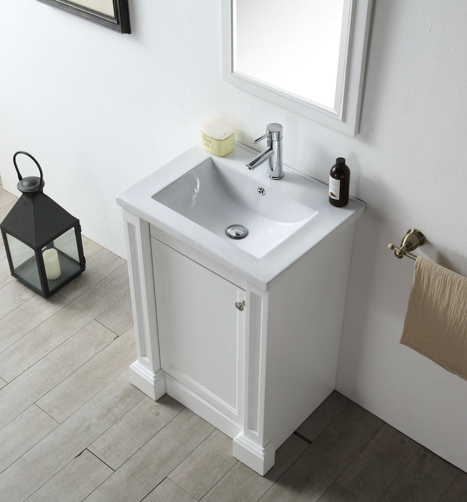 "24"" WOOD SINK VANITY WITH CERAMIC TOP-NO FAUCET IN WHITE WH7124-W"