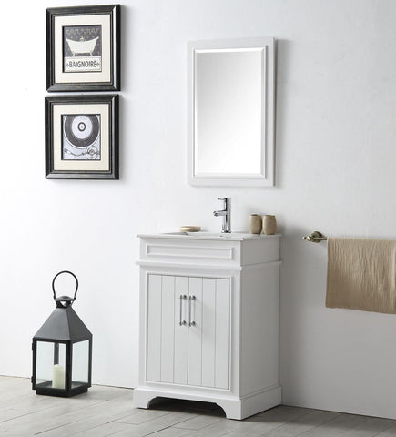 "Image of 24"" WOOD SINK VANITY WITH CERAMIC TOP-NO FAUCET IN WHITE WH7724-W"