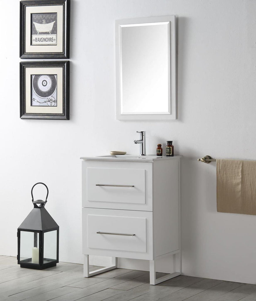 "24"" WOOD SINK VANITY WITH CERAMIC TOP-NO FAUCET IN WHITE WH7824-W"