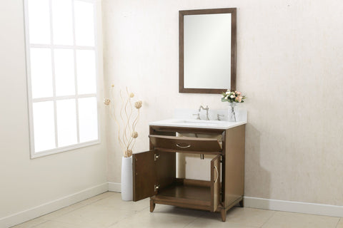 "Image of 30"" ANTIQUE COFFEE SINK VANITY WITH QUARTZ TOP, NO FAUCET WLF7030-30"