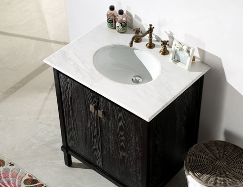 "30"" BLACK COLOR SOLID WOOD SINK VANITY WITH MARBLE TOP-NO FAUCET WH5330-BL"