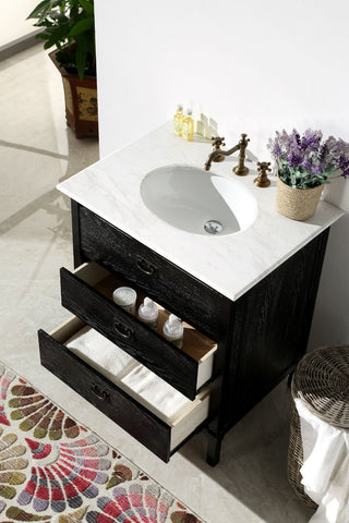 "Image of 30"" BLACK COLOR SOLID WOOD SINK VANITY WITH MARBLE TOP-NO FAUCET WH6030-BL"