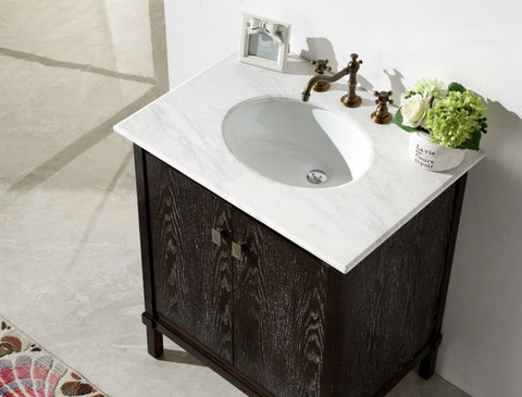"30"" BROWN COLOR SOLID WOOD SINK VANITY WITH MARBLE TOP-NO FAUCET WH5330-BR"