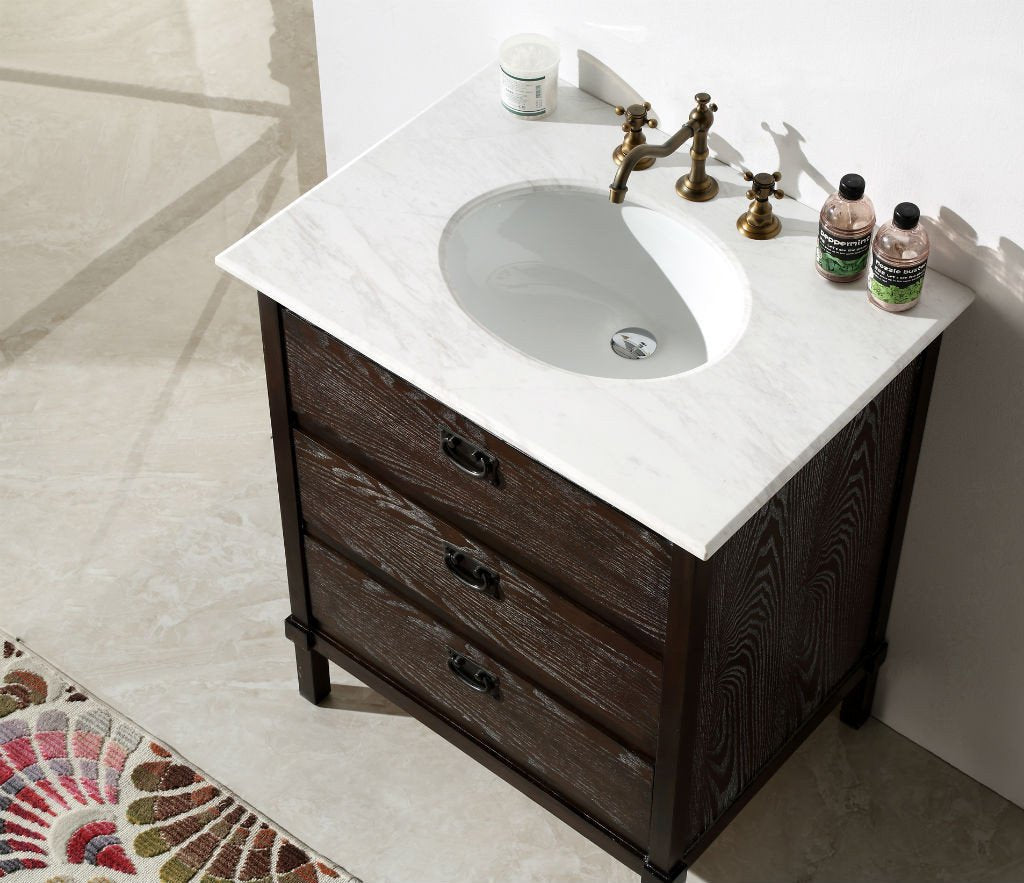 "30"" BROWN COLOR SOLID WOOD SINK VANITY WITH MARBLE TOP-NO FAUCET WH6030-BR"