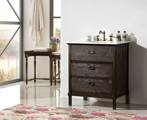 "Image of 30"" BROWN COLOR SOLID WOOD SINK VANITY WITH MARBLE TOP-NO FAUCET WH6030-BR"