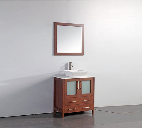 "30"" CHERRY SOLID WOOD SINK VANITY WITH MIRROR WA7830C"