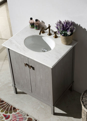 "30"" GRAY COLOR SOLID WOOD SINK VANITY WITH MARBLE TOP-NO FAUCET WH5330-GR"